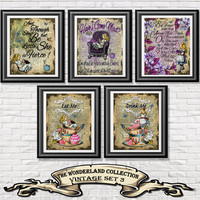 Alice in Wonderland poster prints, 5 vintage Alice arts printed onto old dictionary book pages. Mixed media pack 3 wall decor shabby chic