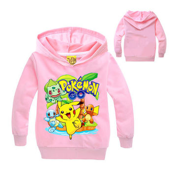 Pokemon Go Cartoon Kids Baby Clothing Long Sleeve Sweatshirt T Shirt Tops Boys Girls Clothes Children T-Shirts