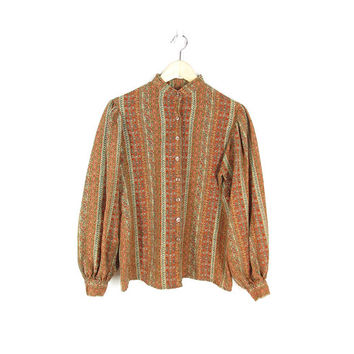 70s Peasant Blouse -- Calico Print Vintage Boho Shirt in Earth Colors -- Long Sleeve Button Down Blouse with Gathered Sleeves -- Womens L