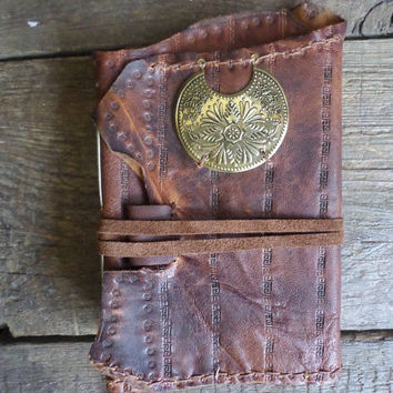 Vintage Style Stamped Leather Journal with white paper Ready to Ship