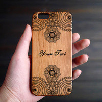 Mandala Cherry Wood Phone Case for iPhone 6 6s , Engraved Wood iPhone 6 6s Case , Personalized iPhone 6 6s Case Wood , Cool iPhone 6 6s Case