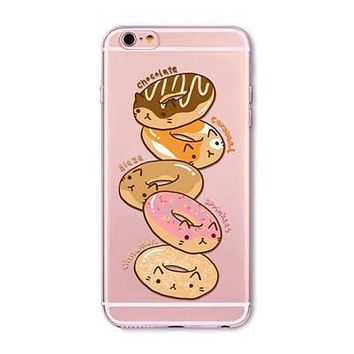 Donut Cat Flavor Clear Phone Case For 6 6s Plus 5 5s SE