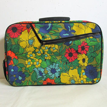 Vintage 1960s Floral Luggage Green Yellow Flower Canvas Suitcase 60s Carry On Fabric Hand Luggage