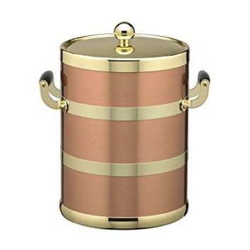 Kraftware Grant Signature Home Americano Collection 5Quart Ice Bucket with Wood Bale Handle  Brushed Copper amp Brass