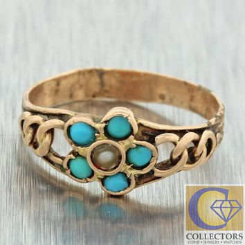 1880s Antique Victorian 14k Solid Rose Gold Turquoise Seed Pearl Cocktail Ring