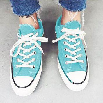 "Kalete ""Converse"" Stylish Unisex Casual Canvas Flats Sneakers Sport Shoes Light Blue I"