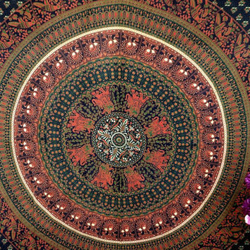 Green Brown floral elephant tapestry indian mandala wall decor hanging beach throw