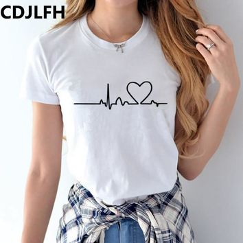 CDJLFH 2018 Women T shirts Summer Harajuku Love Printed T-shirts 100%Cotton Cartoon Casual Short Sleeve Shirt Tops Plus Size