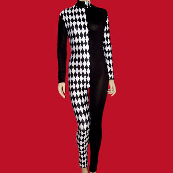 Harlequin Clown With Black and White Diamonds Stretch Spandex Unitard Catsuit Bodysuit Jumpsuit - Small Unisex