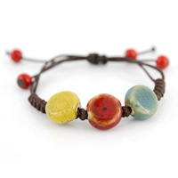 Special Fancy Bohemia Style Colorful Ceramic Oblate Beads Cord Bracelet
