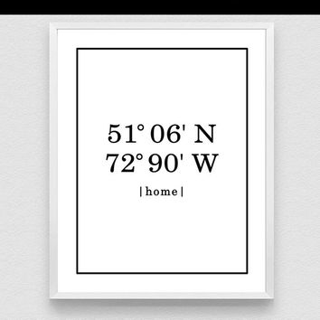 Personalised Home Address, Personalised  Location co-ordinates print,  Custom Latitude and Longitude, Home Decor, Wall Art Print