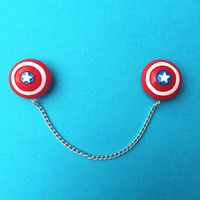"Handmade ""Captain America"" Shield Inspired Sweater or Collar Clips - Red White and Bloom Collection Super Hero Comic"