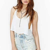 Cloud Surf Crop Tank - White