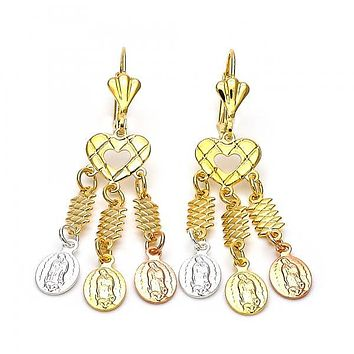 Gold Layered 059.003 Chandelier Earring, Guadalupe and Heart Design, Diamond Cutting Finish, Tri Tone