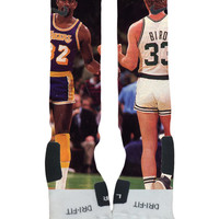 Magic Johnson Larry Bird Fist Bump Custom Nike Elite Socks-Socktimus Prime