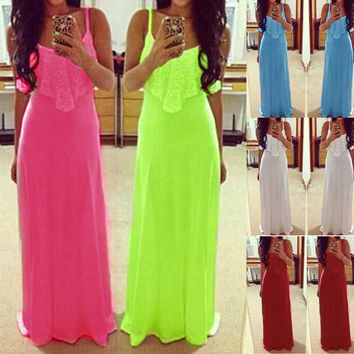 Neon Color Plain Long Dress Ladies Summer Lace Stitching Party Vintage Maxi Dresses Elegant Sexy Women Clothing Dress Cami 3XL