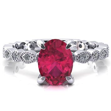 Polaris Oval Ruby 4 Claw Prong Diamond Halo Full Eternity Engagement Ring