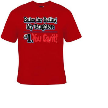 rules for dating my daughter comedy t-shirt cool funny t-shirts gift present humor tee shirt