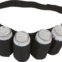 EZ Drinker Beer and Soda Can Holster Belt, holds 6 Cans(Black)