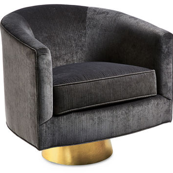 Hollings Striyed Velvet Chair, Charcoal, Accent & Occasional Chairs