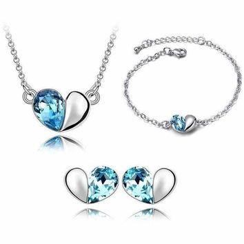 Romantic White Gold Plated Jewelry Sets Simple Heart Pendant Necklace/Earrings/Bracelet