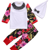 2016 kids Girls clothes baby clothing sets Toddler Infant Baby Girls Floral Tops+Pants+Headband Leggings Outfits Set