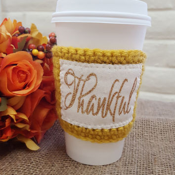 GRATEFUL THANKFUL BLESSED, Fall cup cozy, Autumn cup cozy, Thanksgiving, pumpkin latte cozy