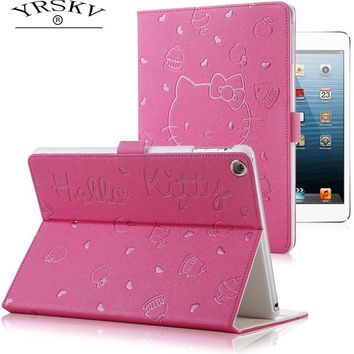 Case for iPad Air/Air 2 / for iPad 9.7 inch 2017/2018 YRSKV Hello Kitty embossed PU leather Smart Auto Sleep Wake Tablet Case