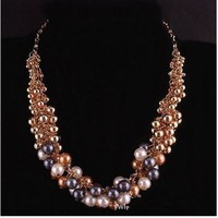 Stylish, Colorful, Vintage - Statement Choker made of Clusters of Imitation Pearls and Gold Beads
