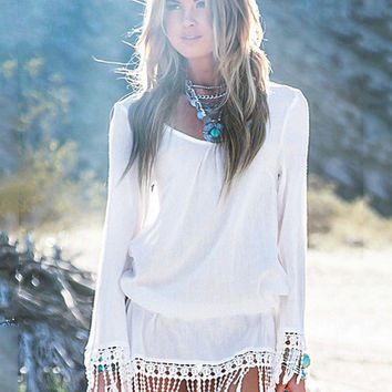 White Long Sleeve Blouson Dress with Tassel Hem