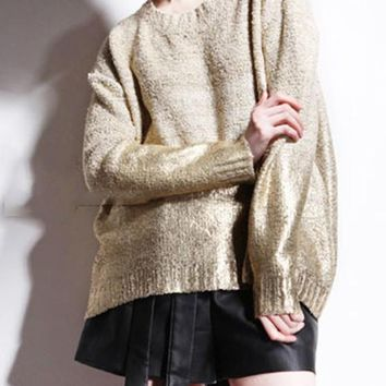New Women Nude Golden Color Block Sequin Fashion Pullover Sweater