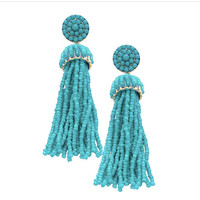 """Nevia"" Beaded Tassel Earrings"