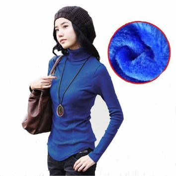 Women Velvet wool Sweater Long sleeves Turtleneck Pullover Winter Tops Solid Cashmere Sweater Autumn Female Plus Size Sweater