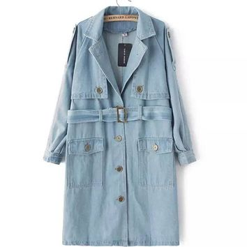 Trendy False 2 piece With Sashes Loose Mid Long Denim Trench New Women's High Waist Notched Collar Casual Denim Coat