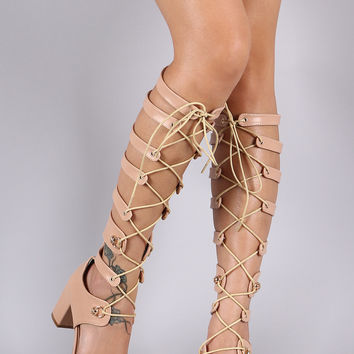 Corset O-Ring Lace-Up Gladiator Chunky Heel