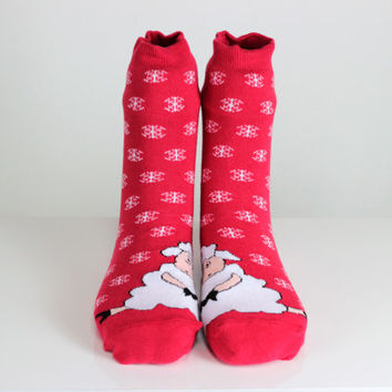 Red Socks Sheep Socks Winter Socks Snowflake Socks Funny Socks Ankle Socks Animal Socks Cute Fun Socks Cotton Animal Socks Hosiery echerpe