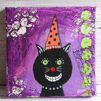 Halloween Black Cat Mixed Media Painting, Original Artwork on 5 x 5 Canvas, Holiday Home Decor, Wall Hanging, Purple, Orange and Black