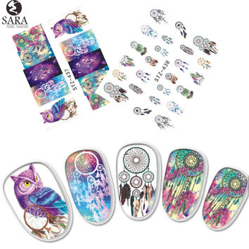 1 Sheets Dream Catcher Owl DIY Full Stamp Nail Sticker Women Sexy Cute Watermark DIY Polish for Nail Decals STZ437 438