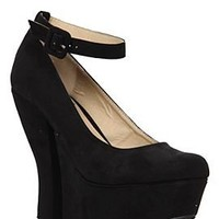 Mary Jane Black Suede Wedge - 785412