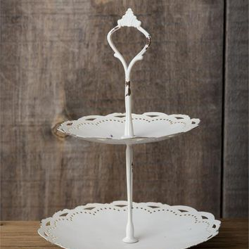 Two Tiered Scalloped Tin Tray