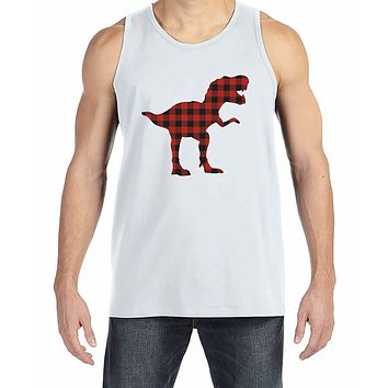 7 ate 9 Apparel Men's Plaid Dinosaur Tank Top