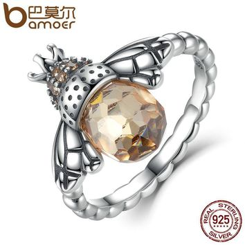 BAMOER 100% Authentic 925 Sterling Silver Orange Wing Animal Bee Finger Ring for Woman Sterling Silver Jewelry SCR025
