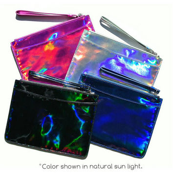 Pink Iridescent Holographic Clutch