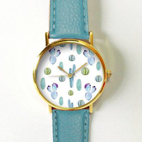 Cactus Succulents Watch , Women Watches,  Leather Watch,  Boyfriend Watch, Ladies Watch, Silver Gold Rose Watch, Green Thumb, Plant Lovers