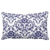 Blue Floral Traditional Pattern Throw Pillow