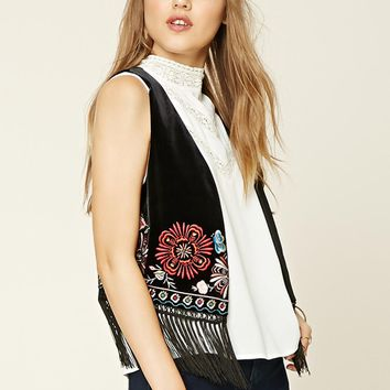 Velvet Embroidered Fringed Vest