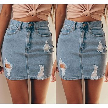 Ladies Pencil Ripped Frayed Midi Skirt Jeans Skirt Casual Blue Jeans Skirts Fashion Women Denim High Waisted Skirts