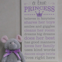 A True Princess, Princess Decor, Princess Rules, Painted Wood Sign Purple / Gray Princess Crown Sign, Baby Girl Nursery Princess Subway Art