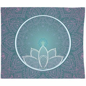 Teal Blue Lotus Mandala With Pink Design Bohemian Tapestry Hippie Zen Wall Hanging Yoga Meditation Hippie Art