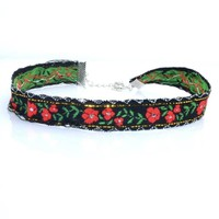 Poppy Embroidered Choker